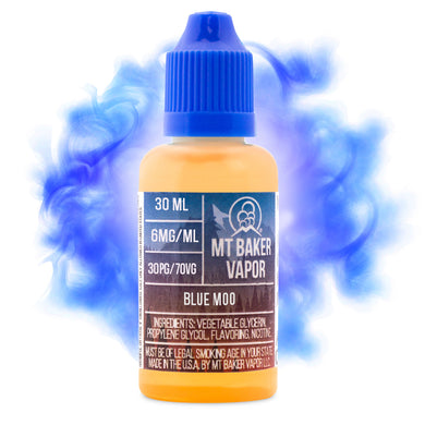 Blue Moo is an e-juice with flavors of milk, custard, cream & coconut. This e-liquid is made by Mt Baker Vapor with bottle sizes of 30ml or 60ml. Nicotine levels of 0%, 3% or 6%
