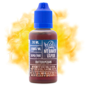 Butter Pecan is an e-juice with flavors of butter pecan, dessert, sweet & sugar. This e-liquid is made by Mt Baker Vapor with bottle sizes of 30ml or 60ml. Nicotine strength options of 0%, 3% or 6%