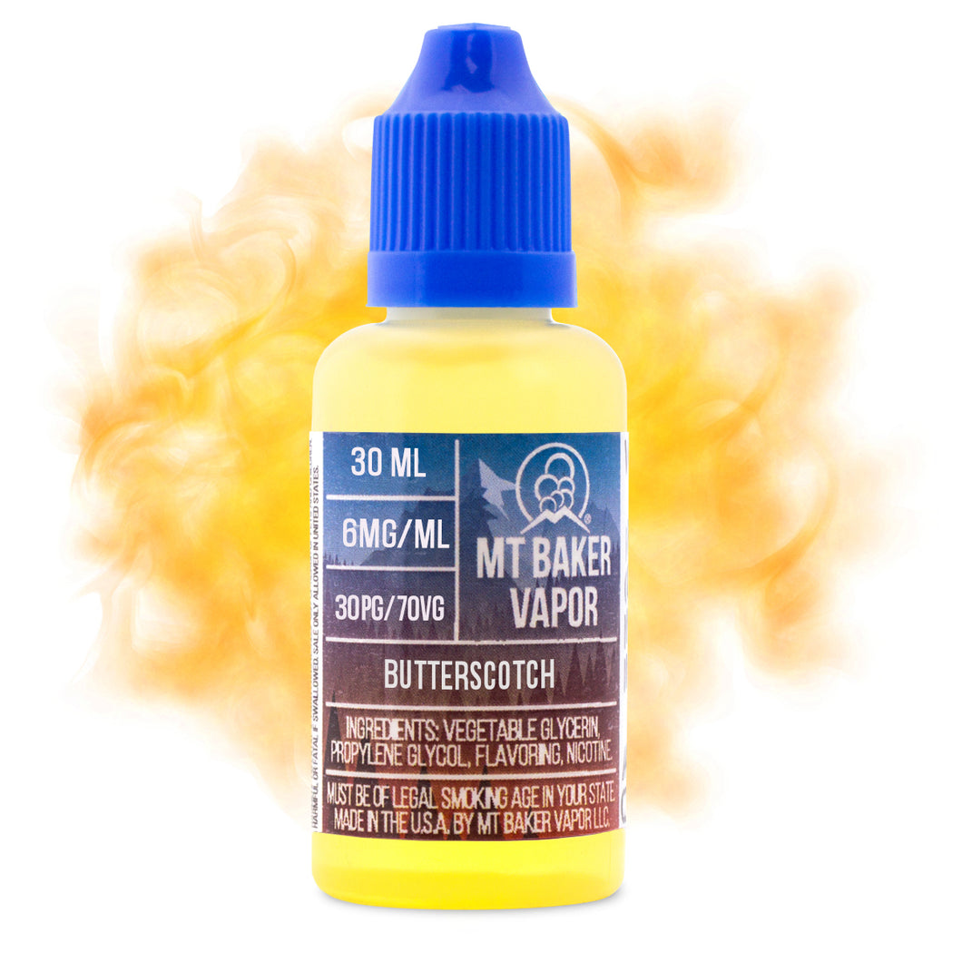 Butterscotch is an e-juice with butterscotch & dessert flavors. This e-liquid is made by Mt Baker Vapor with bottle sizes of 30ml or 60ml. Nicotine strength options of 0%, 3% or 6%