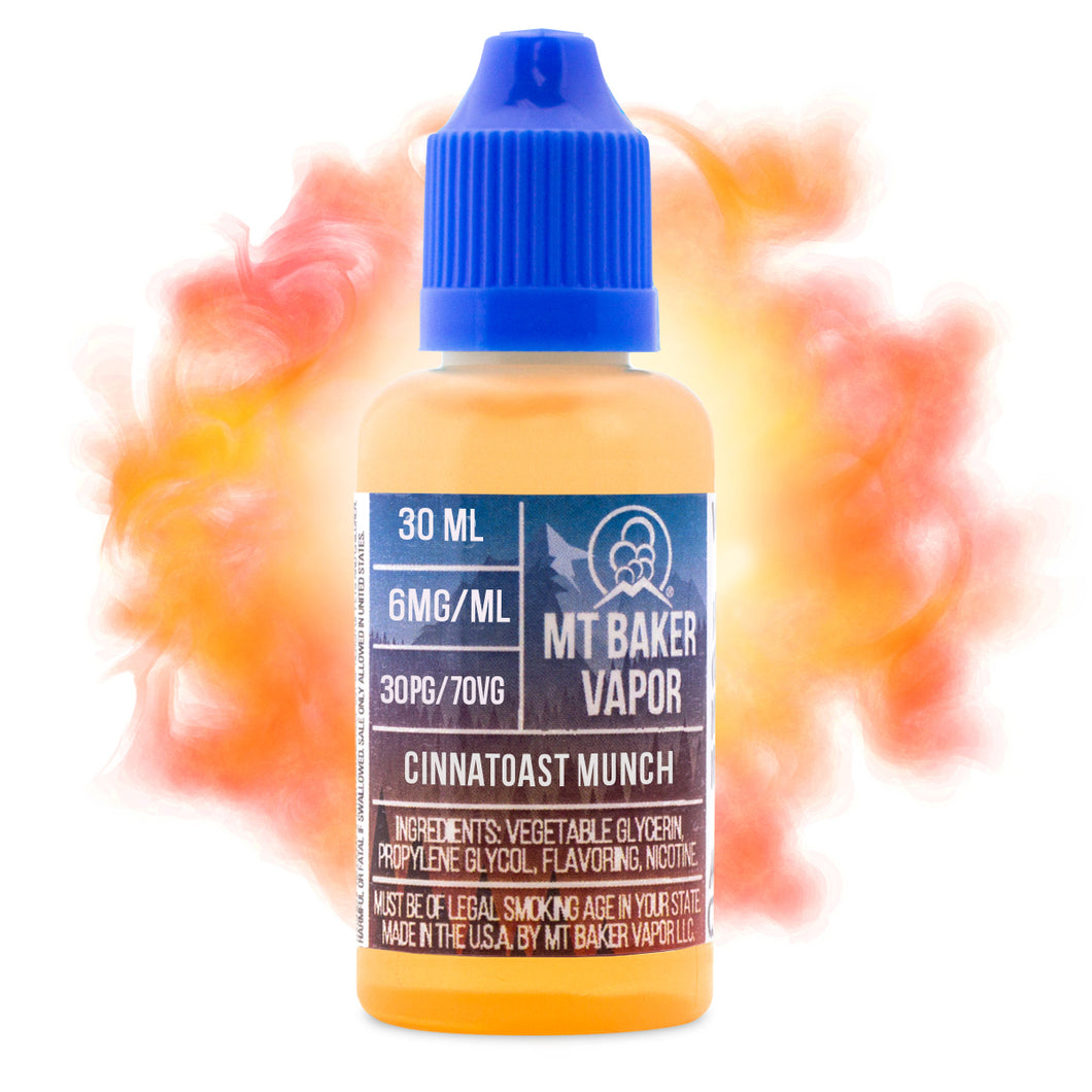 Cinnamontoast Munch is an e-juice with flavors of cinnamon, toast, pastries & dessert. This e-liquid is made by MT Baker Vapor with bottle sizes of 30ml or 60ml. Nicotine strength options of 0%, 3% or 6%
