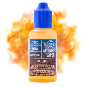 Hazelnut is a dessert e-juice with flavors of hazelnut. This e-liquid is made by Mt Baker Vapor with bottle size options of 30ml or 60ml. Nicotine strength options are 0%, 3% or 6%