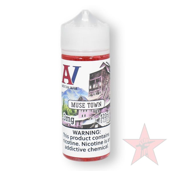 Muse Town is a fruit candy e juice with flavors of strawberry, blue raspberry, blackberry, nectarine & pineapple. This e liquid is made by American Vapor Group in chubby gorilla bottle sizes of 60ml or 120ml. Nicotine strength options are 0%, 3% 6% or 12%.