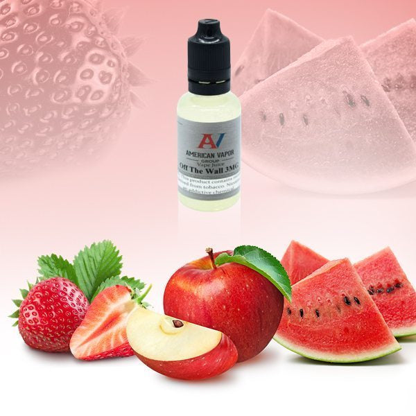 Off The Wall is a menthol candy e juice with flavors watermelon, strawberry, apples & menthol. This e liquid is made by American Vapor Group / Red Star Vapor in chubby gorilla sizes of 30ml, 60ml or 120ml. Nicotine strength options are 0%, 3%, 6% or 12%.