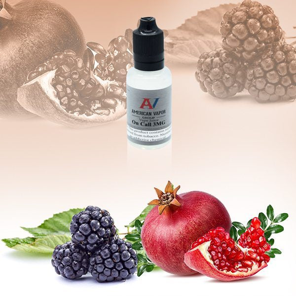 On Call is a menthol fruit e juice with flavors or peach, raspberry, blackberry & pomegranate, topped with menthol. This e liquid is made by American Vapor Group / Red Star Vapor in chubby gorilla bottles of 30ml, 60ml or 120ml. Nicotine strength options are 0%, 3%, 6% or 12%.