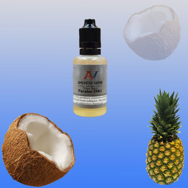 Pariso is a creamy tropical drink e juice with flavors of coconut & pineapple. This e liquid is made by American Vapor Group / Red Star Vapor in chubby gorilla bottles of 30ml, 60ml or 120ml. Nicotine strength options are 0%, 3%, 6% or 12%.