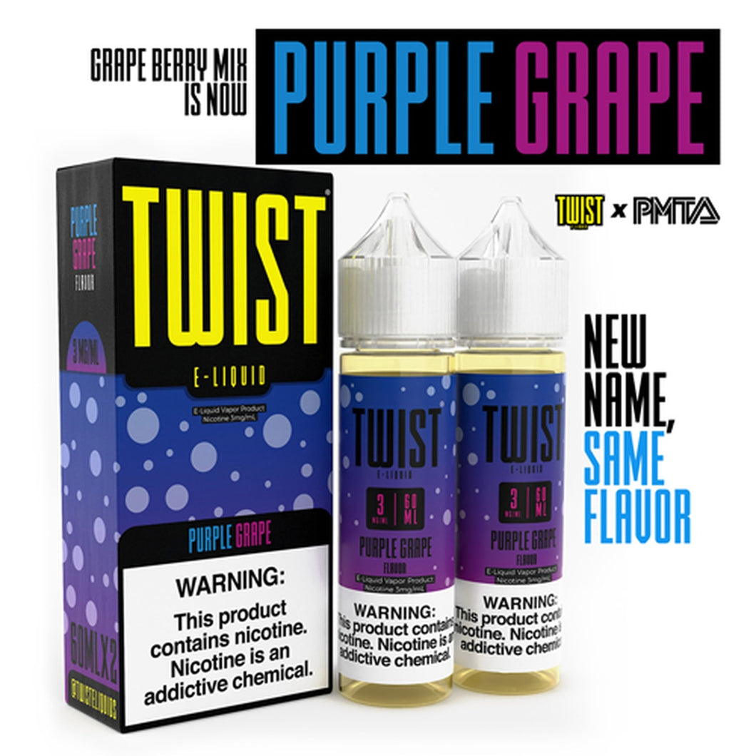 Purple Grape is a fruity e juice with flavors of grape, strawberry & blueberry. This e liquid is made by Twist E Liquid in bottle size options of 120ml or 240ml. Nicotine strength options are 0%, 3% or 6% in a 70/30 VG/PG blend.