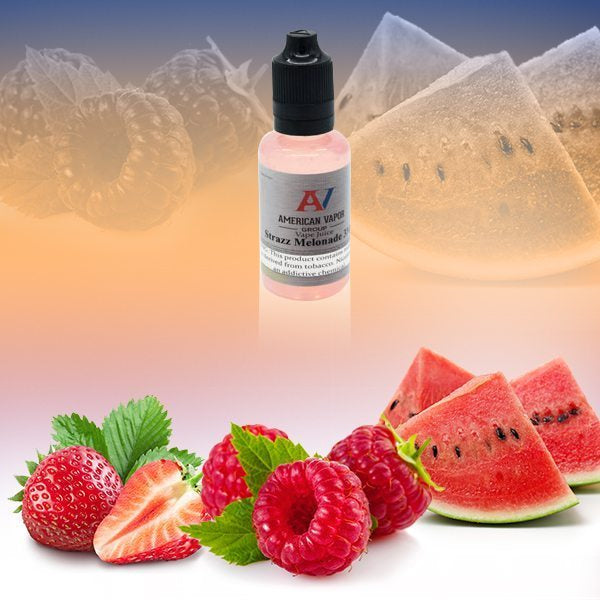 Strazz Melonade is a fruit drink e juice with flavors of strawberry, watermelon, lemonade & raspberry. This e liquid is made by American Vapor Group /Red Star Vapor in bottle size options of 60ml or 120ml. Nicotine strength options are 0%, 3%, 6%, or 12%.