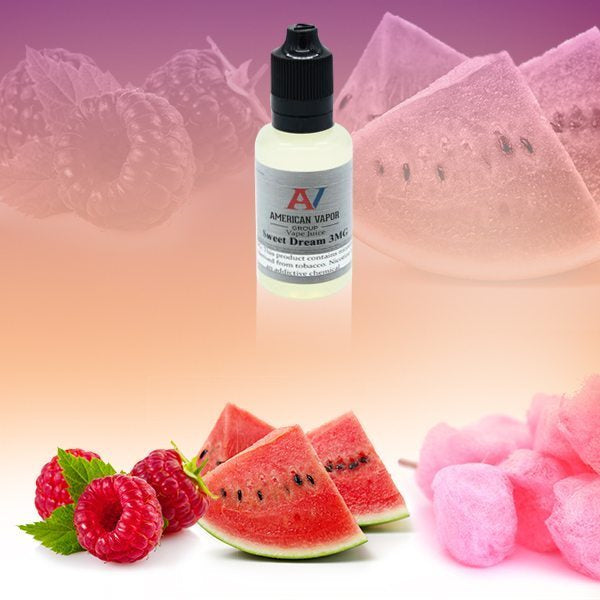 Sweet Dreams is a fruity drink e juice with flavors of champagne, watermelon, raspberry & cotton candy. This e liquid is made by American Vapor Group/Red Star Vapor in bottle size options of 60ml or 120ml. Nicotine strength options are 0%, 3%, 6% or 12%.