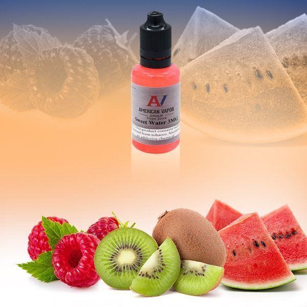 Sweet Water is a fruit drink e juice with flavors of watermelon, strawberry, kiwi & raspberry. This e liquid is made by American Vapor Group/Red Star Vapor in bottle size options of 60ml or 120ml. Nicotine strength options are 0%, 3%, 6% or 12%.
