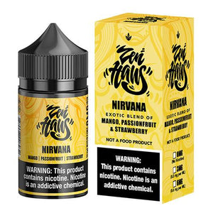 Nirvana is a fruity e juice with flavors of sttawberry, passion fruit & mango. this e liquid is made by Zen Haus in bottle sizes of 75ml or 150ml. nicotine strength options are 0%, 3% or 6%