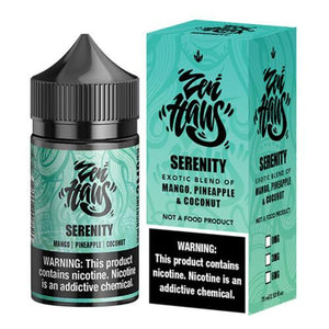 Serenity is a tropical fruit drink e juice sold by busyvaper.com with flavors of mangoes, pineapple & coconut. This e liquid is made by Zen Haus in chubby gorilla bottle sizes of 75ml or 150ml. Nicotine strength options are 0%, 3% or 6%.
