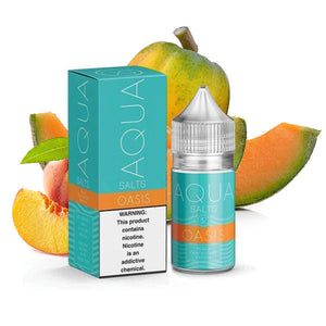 Oasis salt nic is a fruity e juice with flavors of cantaloupe, peach & papaya. This e liquid is made by Aqua/Marina Vapes in bottle sizes of 30ml. Nicotine strength options are 35mg or 50mg.