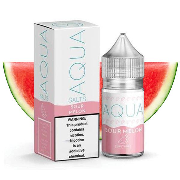 Sour Melon Salt Nic is a fruit candy salt nic e juice with flavors of watermelon candy. This e liquid is made by Aqua/Marina Vapes in bottle sizes of 30ml. Nicotine strength options are 35mg & 50mg.