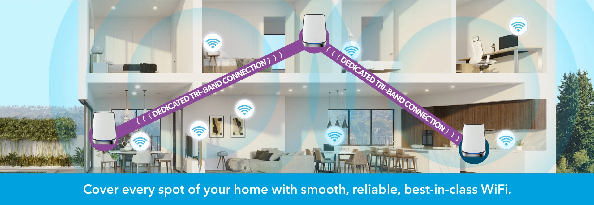 With Orbi Mesh dedicated backhaul streams, use the satellites to cover every inch of your home with smooth, reliable, best-in-class WiFi