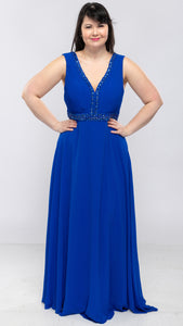 Ladies Long Evening Dress With Stretch Back - $69.00