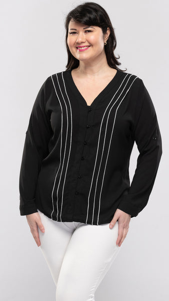 Ladies Top With Pleat Trim Front & Tie-up Sleeves - 12pcs/pack ($11.90 each)