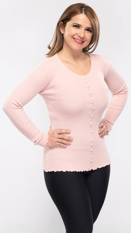 Ladies Knit Front Frill L/S Stretch Top - 12pcs/pack ($12.90 each)