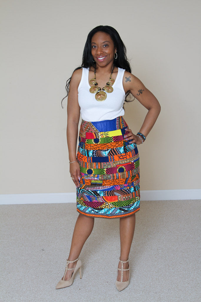 Layered patchwork pencil skirt
