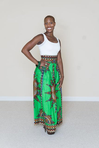 African Print Maxi Skirt- Kelly