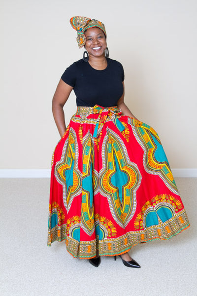 Dashiki Print Maxi Skirt - Evelyn