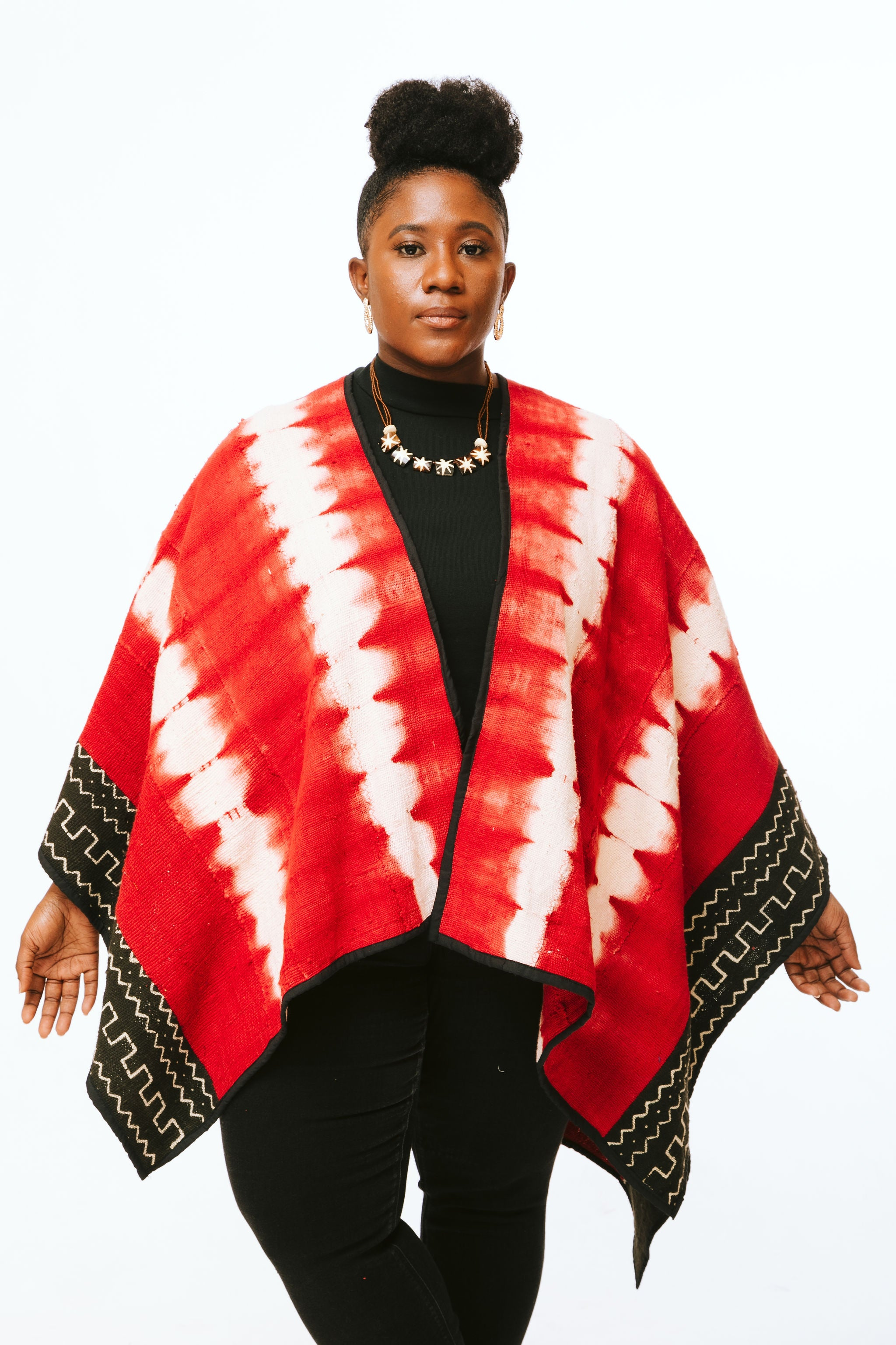Red Mudcloth Cape