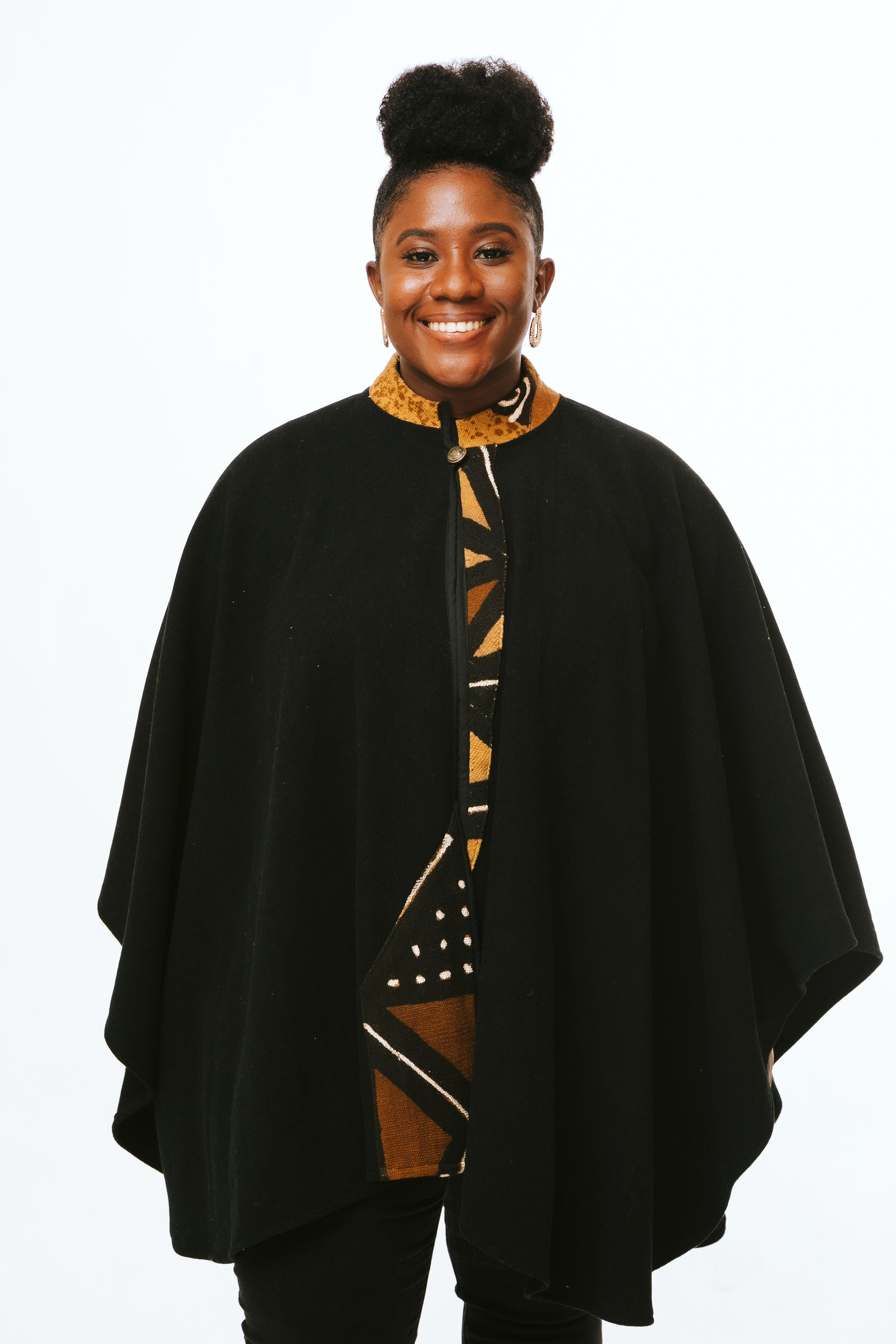Black Mudcloth Cape