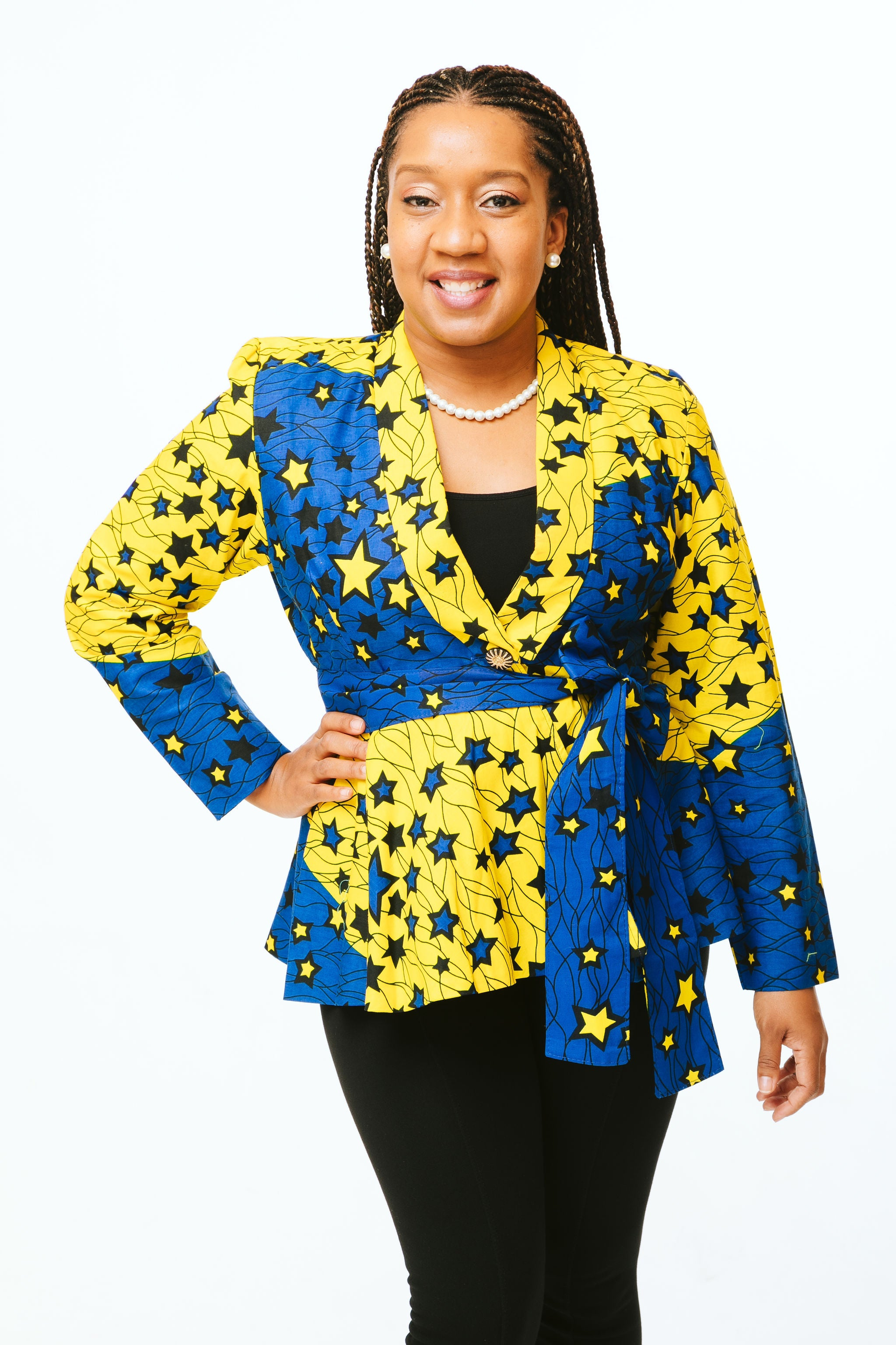 Yellow & Blue Star Print Tie Front Jacket