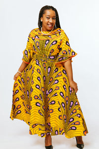 Yellow Peacock Print Dress - Kim