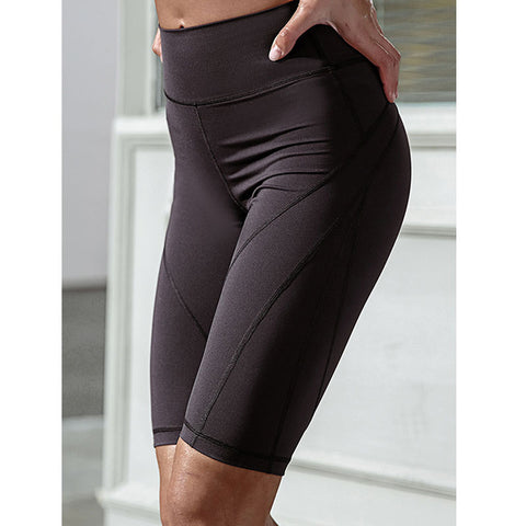Women Knee Length High Waist Yoga Shorts