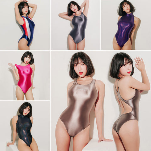 One Piece Swimwear Women Glitter Shiny Bathing Suits