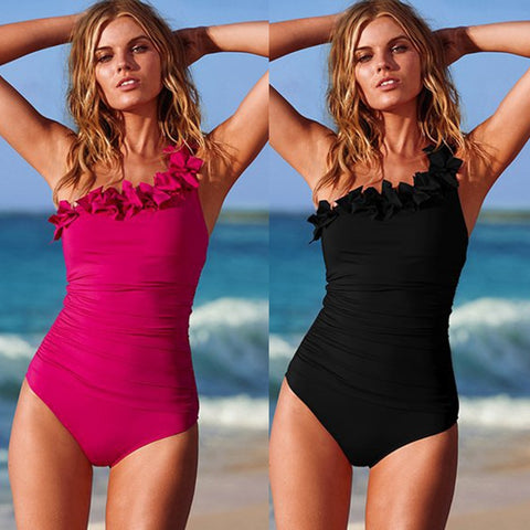 Women One Shoulder Halter One Piece Swimsuit