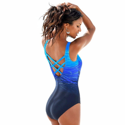 One Piece Women Vintage Gradient Swimsuit