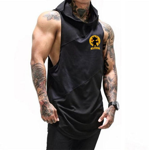 Fitness Men Gyms Hooded Tank Top