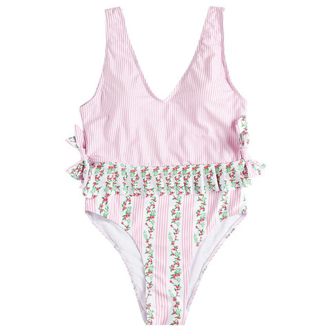 Padded Striped Women Bathing Beach Suits
