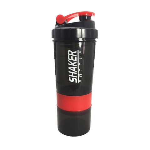 Sports Shaker Bottle For Sports Nutrition (Black + Red)