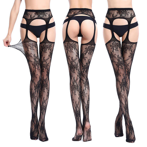 Black Lace Garter + Stockings
