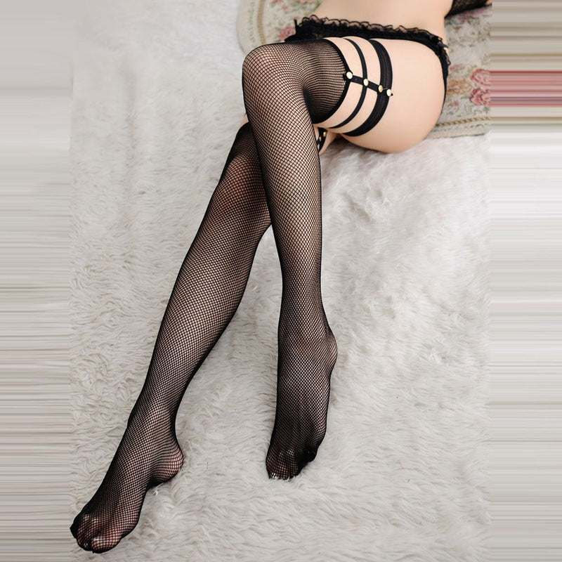Strappy Thigh High Fishnet Stockings