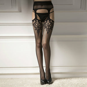 Lace Top Garter Belt Thigh Mesh Stockings