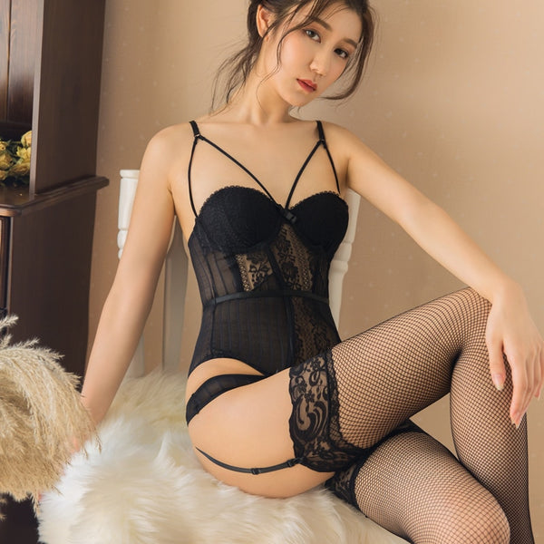 Foreplay Corset + Panty Set in Black
