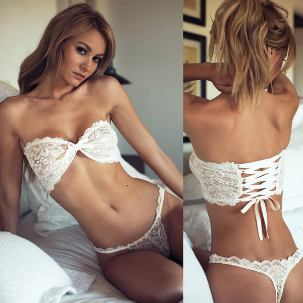 Strapless Lace Bra + Thong Set