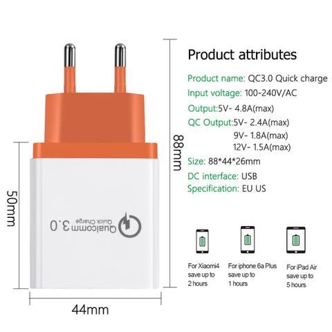UNIVERSAL 18 W USB QUICK MOBILE CHARGE 3.0 5V 3A FOR IPHONE 7 8 EU US PLUG