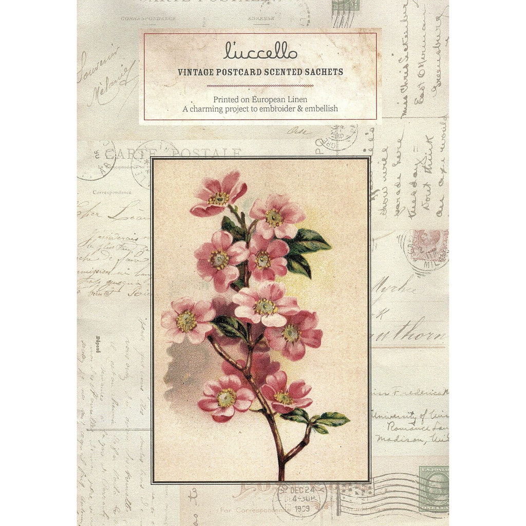 Vintage Postcard Scented Sachets - Pink Dogwood Postcard - Luccello