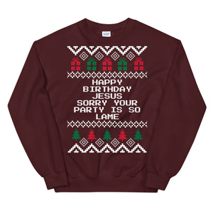 The Office Happy Birthday Jesus Sorry Your Party Is So Lame Christmas Sweater