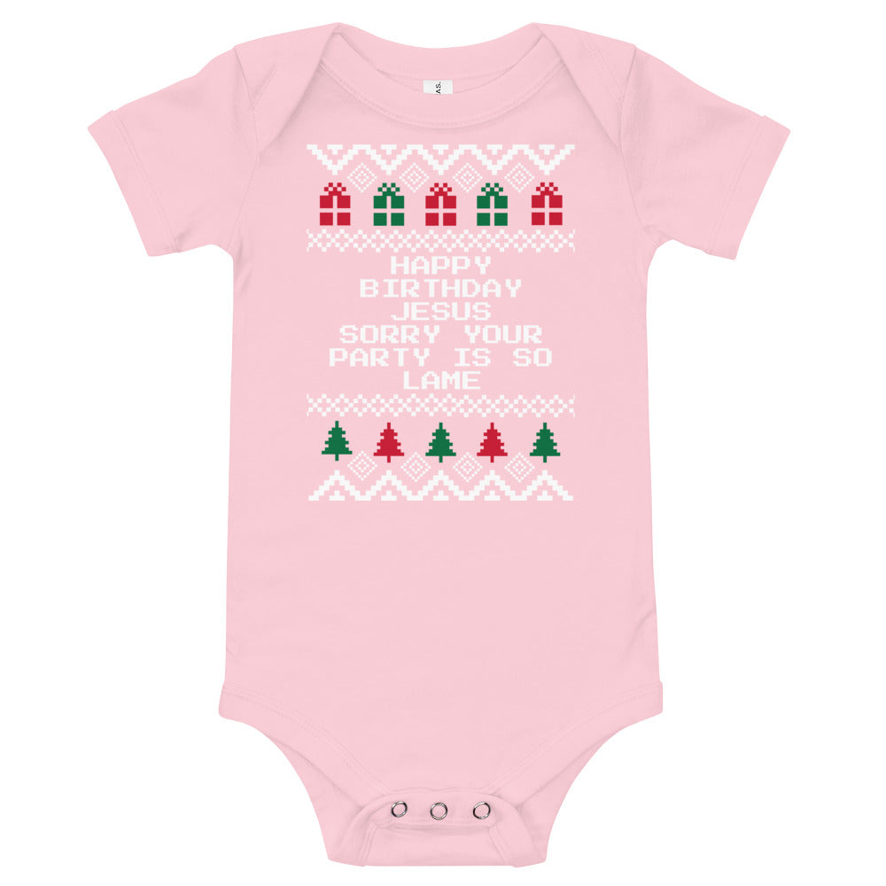 The Office Happy Birthday Jesus Sorry Your Party Is So Lame Baby Christmas Bodysuit | Fetchonista