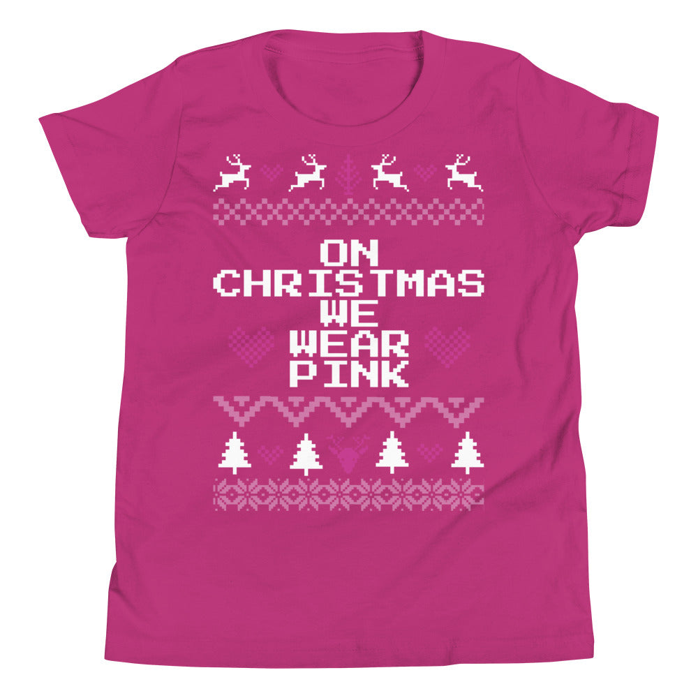 On Christmas We Wear Pink Youth Christmas Tee | Fetchonista