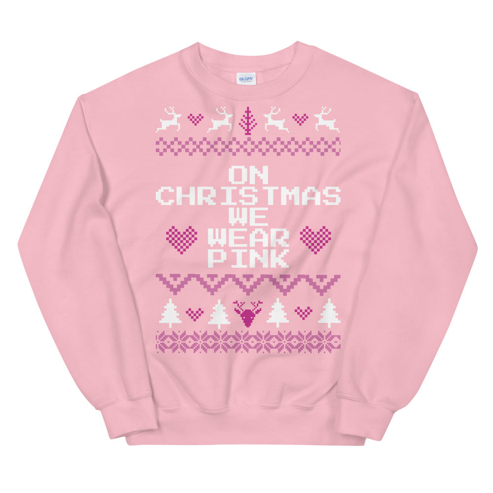Mean Girls On Wednesdays We Wear Pink Christmas Sweater
