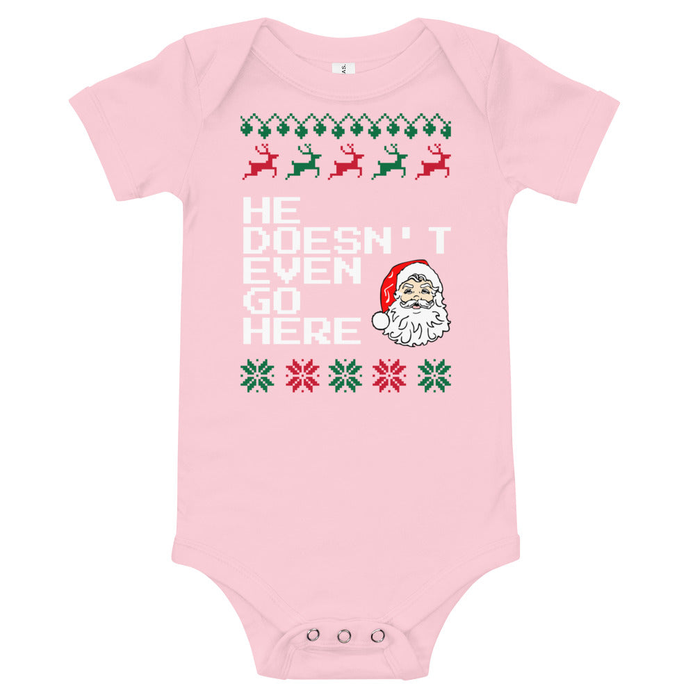 MEan Girls He Doesn't Even Go Here Baby Christmas Bodysuit | Tipsy Aunt