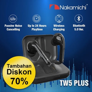 Headphone nirkabel Nakamichi NEP-TW5 Plus bisnis headphone