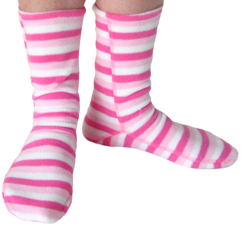 Polar Feet Fleece Socks in Candy Stripe front view