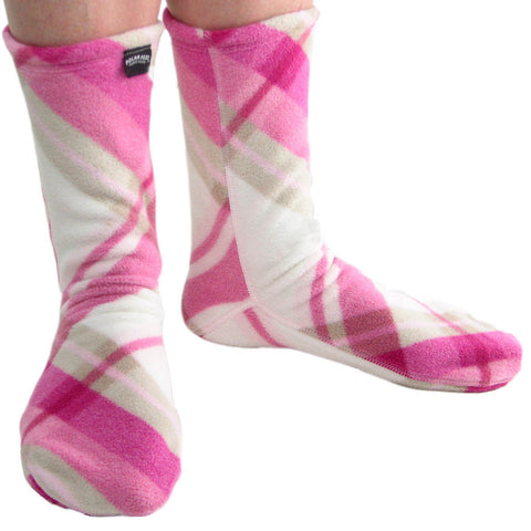 Polar Feet Fleece Socks in Pink Argyle Regular Sole v2